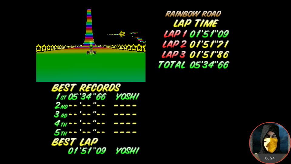 omargeddon: Mario Kart 64: Rainbow Road [Time Trial] (N64 Emulated) 0:05:34.66 points on 2018-02-22 13:20:33