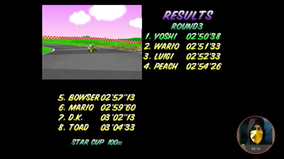 omargeddon: Mario Kart 64: Royal Raceway [100cc] (N64 Emulated) 0:02:50.38 points on 2018-02-03 17:00:32