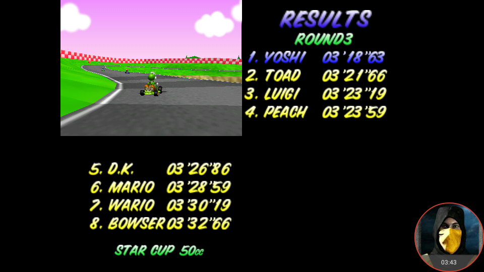 omargeddon: Mario Kart 64: Royal Raceway [50cc] (N64 Emulated) 0:03:18.63 points on 2018-01-22 00:19:10