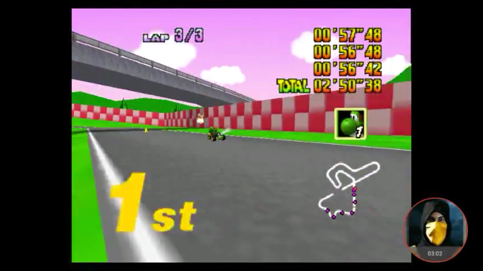omargeddon: Mario Kart 64: Royal Raceway [Lap Time] [100cc] (N64 Emulated) 0:00:56.42 points on 2018-02-03 17:04:22