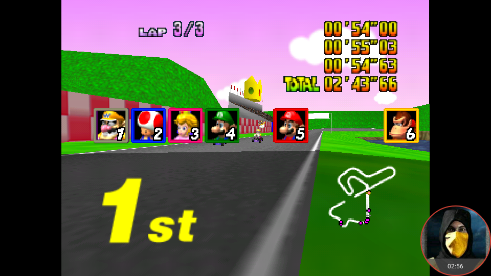 omargeddon: Mario Kart 64: Royal Raceway [Lap Time] [150cc] (N64 Emulated) 0:00:54 points on 2018-02-10 14:27:46
