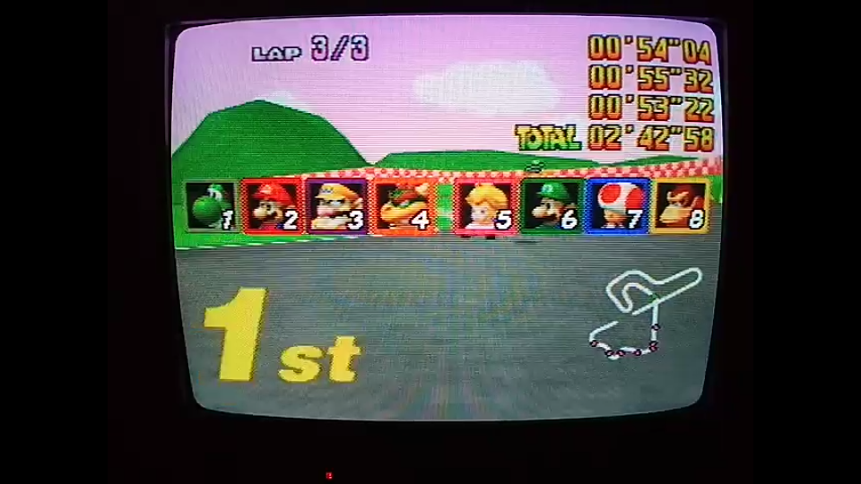 omargeddon: Mario Kart 64: Royal Raceway [Lap Time] [150cc] (N64) 0:00:53.22 points on 2020-04-26 16:40:27