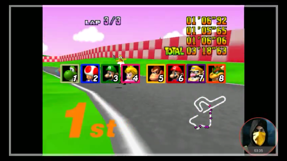 omargeddon: Mario Kart 64: Royal Raceway [Lap Time] [50cc] (N64 Emulated) 0:01:05.65 points on 2018-01-31 18:36:34