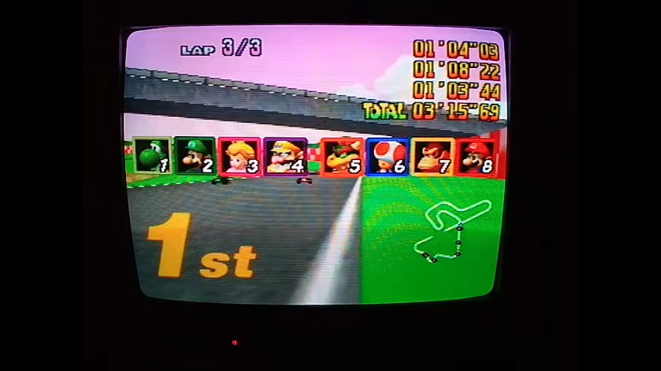 omargeddon: Mario Kart 64: Royal Raceway [Lap Time] [50cc] (N64) 0:01:03.44 points on 2020-04-22 20:17:55