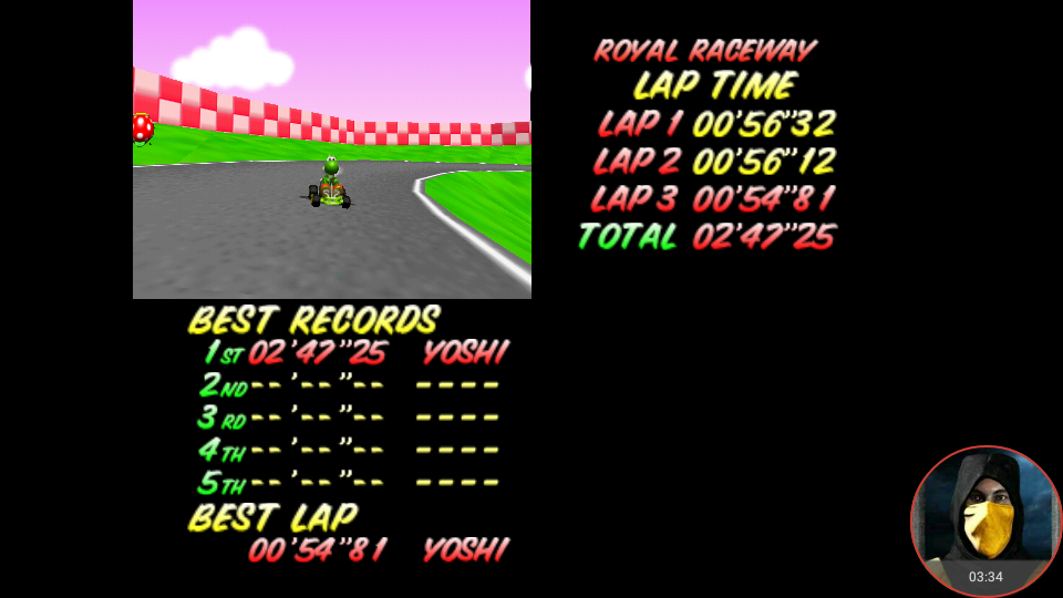 omargeddon: Mario Kart 64: Royal Raceway [Time Trial] (N64 Emulated) 0:02:47.25 points on 2018-02-22 12:59:18