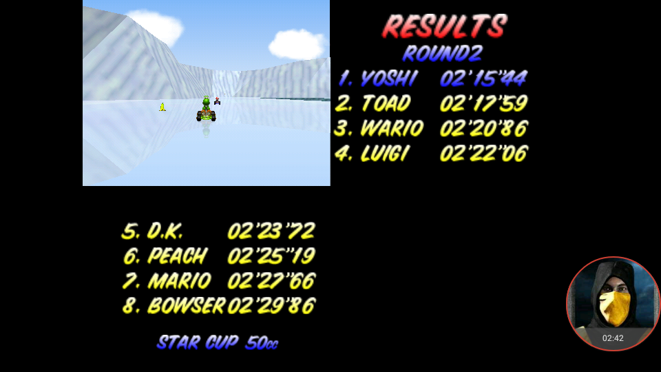 omargeddon: Mario Kart 64: Sherbert Land [50cc] (N64 Emulated) 0:02:15.44 points on 2018-01-24 23:05:00