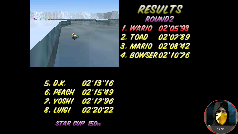omargeddon: Mario Kart 64: Sherbet Land [150cc] (N64 Emulated) 0:02:05.93 points on 2018-02-10 14:42:14