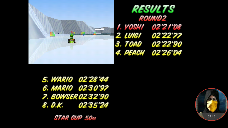omargeddon: Mario Kart 64: Sherbet Land [50cc] (N64 Emulated) 0:02:21.08 points on 2018-01-24 20:38:52