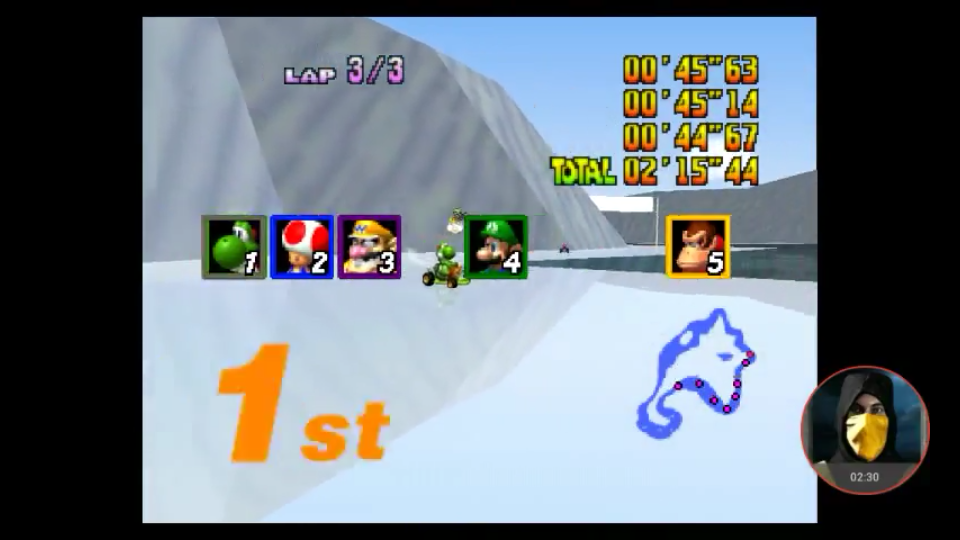 omargeddon: Mario Kart 64: Sherbet Land [Lap Time] [50cc] (N64 Emulated) 0:00:44.67 points on 2018-01-31 18:31:02