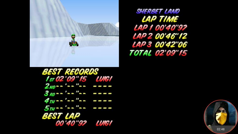 omargeddon: Mario Kart 64: Sherbet Land [Time Trial] (N64 Emulated) 0:02:09.15 points on 2018-02-22 12:53:20