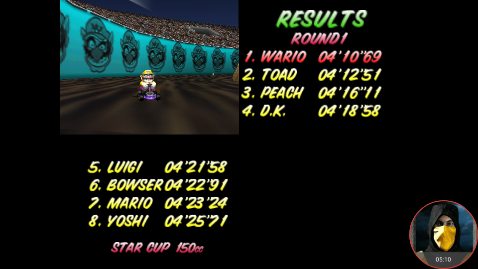 omargeddon: Mario Kart 64: Wario Stadium [150cc] (N64 Emulated) 0:04:10.69 points on 2018-02-10 14:34:02