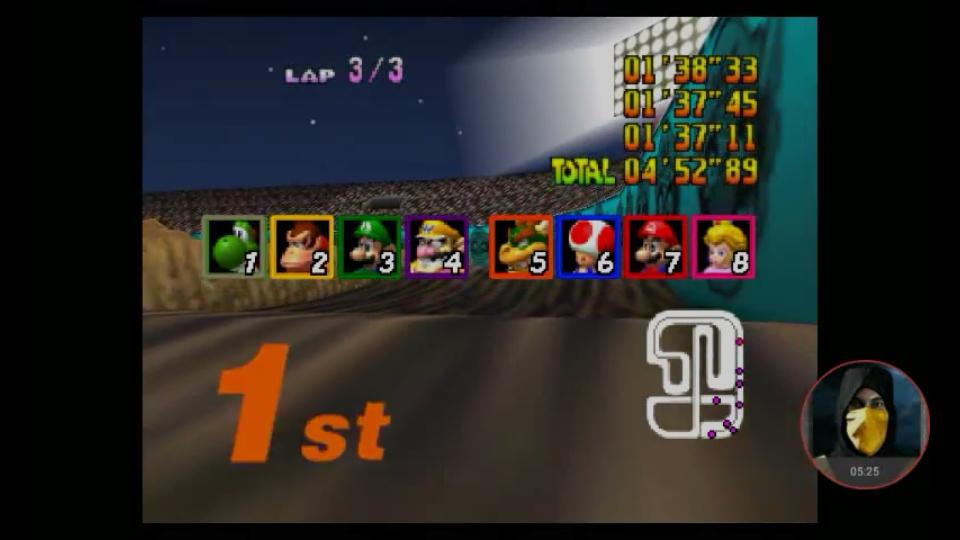 Mario Kart 64: Wario Stadium [Lap Time] [50cc] time of 0:01:37.11