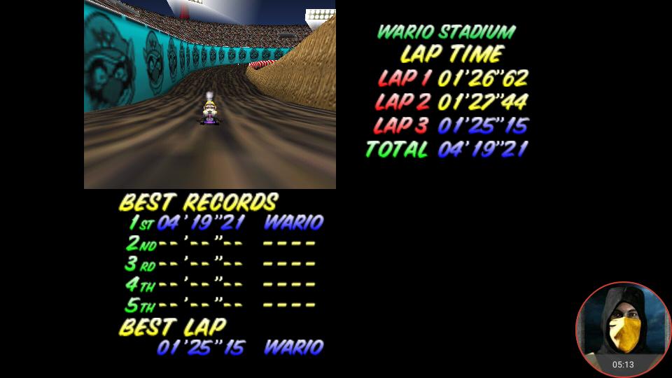 omargeddon: Mario Kart 64: Wario Stadium [Time Trial] (N64 Emulated) 0:04:19.21 points on 2018-02-22 12:48:36