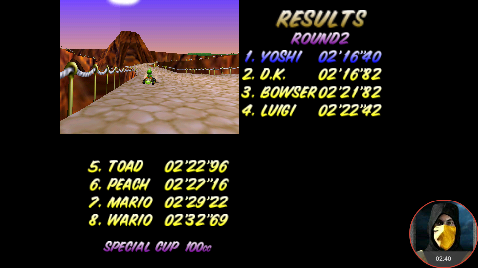 omargeddon: Mario Kart 64: Yoshi Valley [100cc] (N64 Emulated) 0:02:16.4 points on 2018-02-05 00:56:39