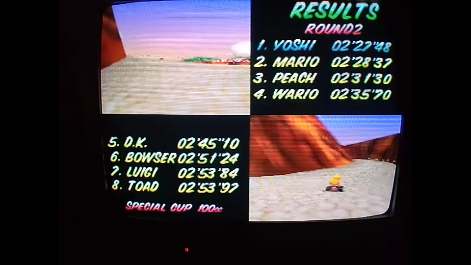 omargeddon: Mario Kart 64: Yoshi Valley [100cc] (N64) 0:02:27.48 points on 2020-04-26 15:59:22
