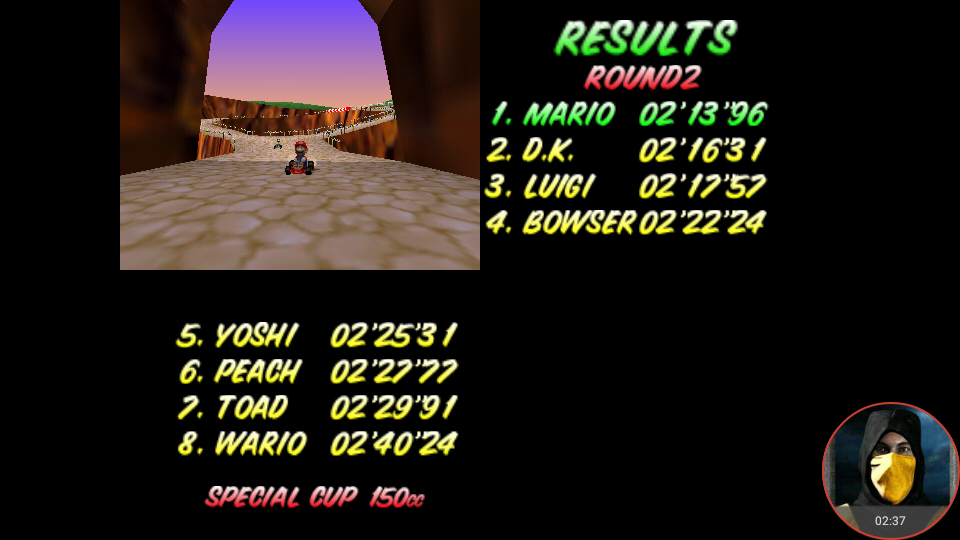 omargeddon: Mario Kart 64: Yoshi Valley [150cc] (N64 Emulated) 0:02:13.96 points on 2018-02-10 18:26:04