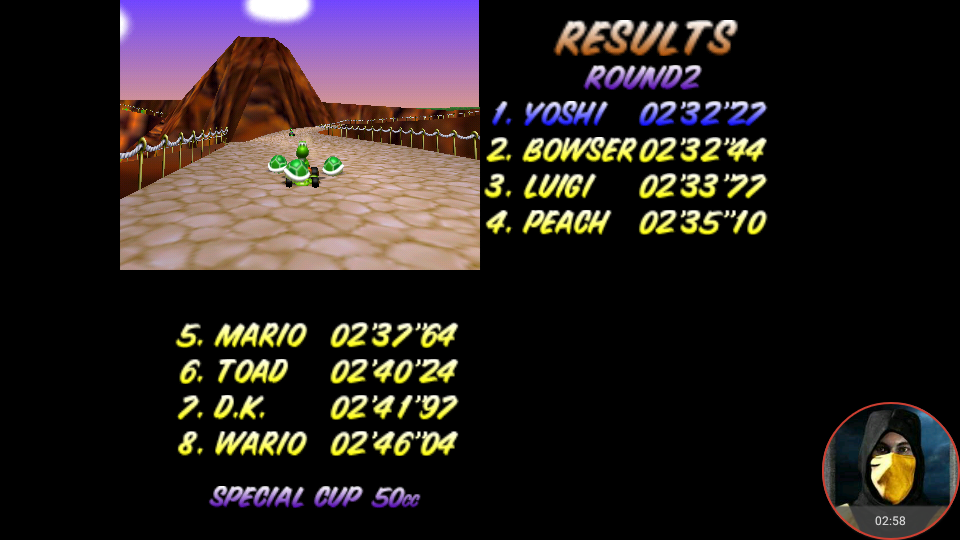 omargeddon: Mario Kart 64: Yoshi Valley [50cc] (N64 Emulated) 0:02:32.27 points on 2018-02-02 18:12:46