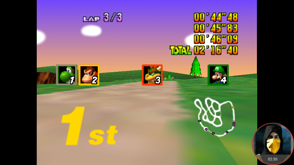 omargeddon: Mario Kart 64: Yoshi Valley [Lap Time] [100cc] (N64 Emulated) 0:00:44.48 points on 2018-02-05 00:57:34