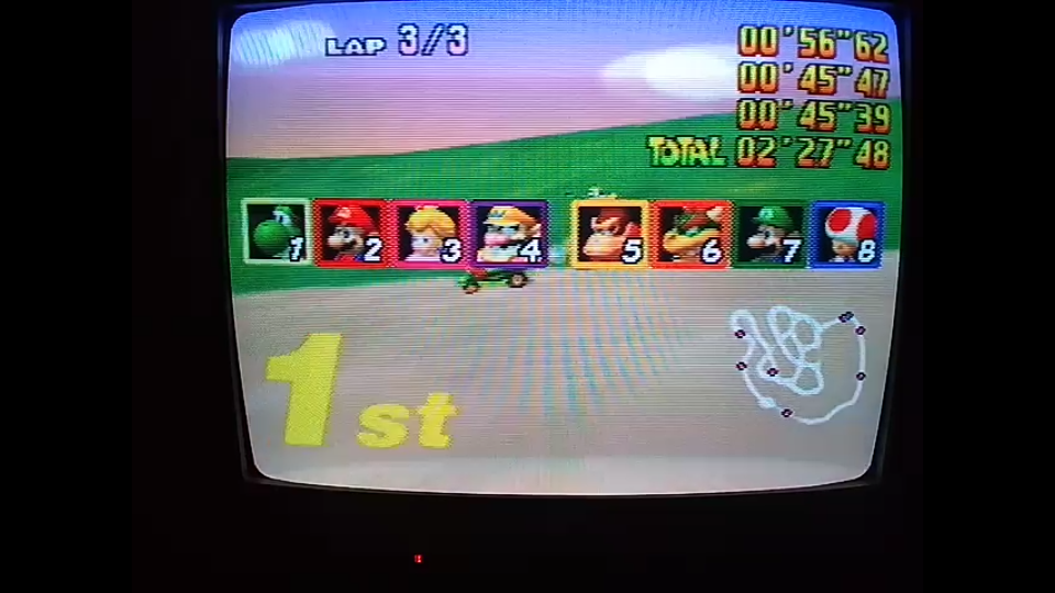 omargeddon: Mario Kart 64: Yoshi Valley [Lap Time] [100cc] (N64) 0:00:45.39 points on 2020-04-26 16:00:15