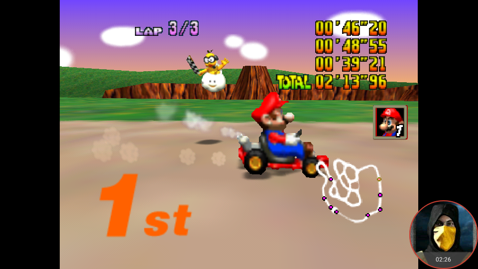omargeddon: Mario Kart 64: Yoshi Valley [Lap Time] [150cc] (N64 Emulated) 0:00:39.21 points on 2018-02-10 18:26:42