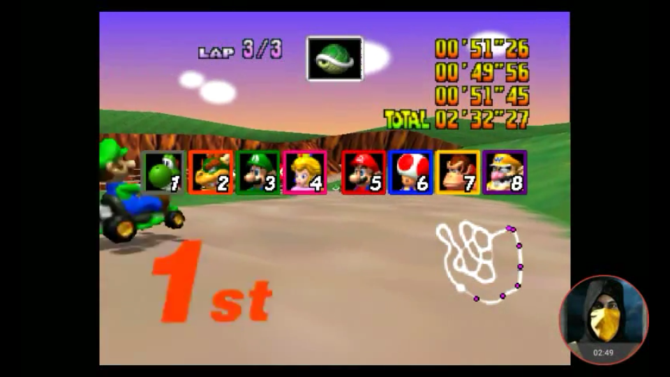 omargeddon: Mario Kart 64: Yoshi Valley [Lap Time] [50cc] (N64 Emulated) 0:00:49.56 points on 2018-02-02 19:52:01