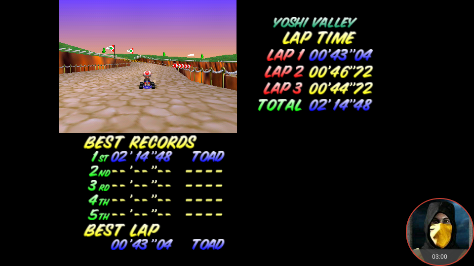 omargeddon: Mario Kart 64: Yoshi Valley [Lap Time] [Time Trial] (N64 Emulated) 0:00:43.04 points on 2018-02-22 13:15:06