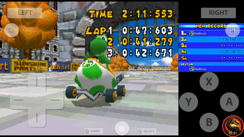 omargeddon: Mario Kart DS: Delfino Square [Time Trial] (Nintendo DS Emulated) 0:02:11.553 points on 2020-08-01 23:08:25
