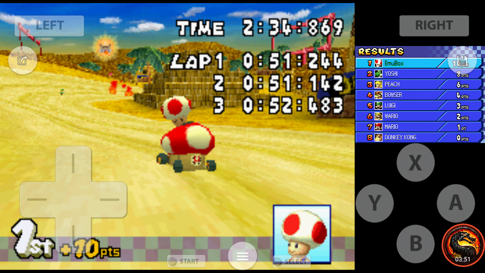 omargeddon: Mario Kart DS: Desert Hills [50cc] [Lap Time] (Nintendo DS Emulated) 0:00:51.142 points on 2020-07-30 19:12:37
