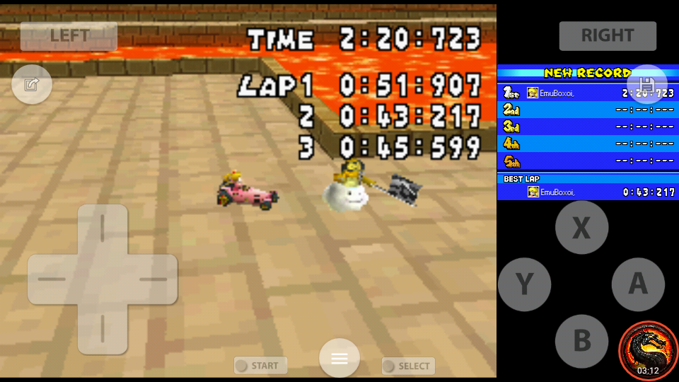 omargeddon: Mario Kart DS: GBA Bowser Castle 2 [Time Trial] [Lap Time] (Nintendo DS Emulated) 0:00:43.217 points on 2020-08-02 10:43:53