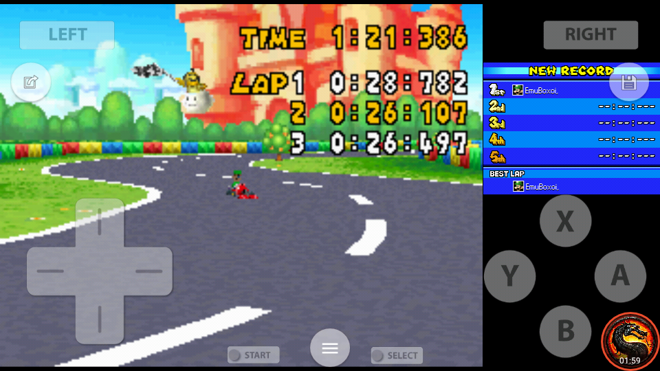 omargeddon: Mario Kart DS: GBA Peach Circuit [Time Trial] (Nintendo DS Emulated) 0:01:21.386 points on 2020-08-02 10:30:41