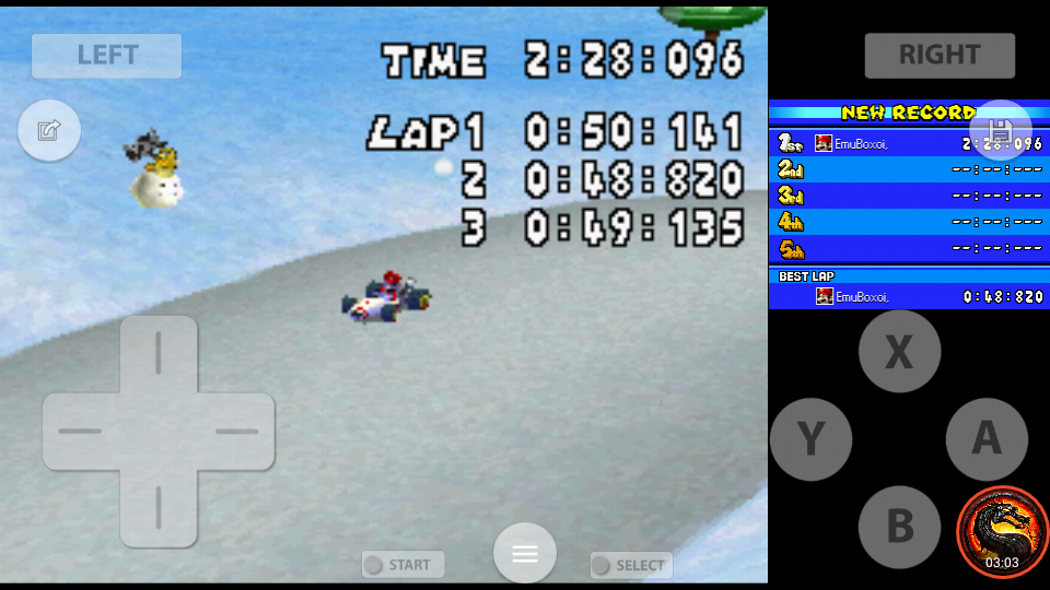omargeddon: Mario Kart DS: N64 Frappe Snowland [Time Trial] (Nintendo DS Emulated) 0:02:28.096 points on 2020-08-02 10:38:21