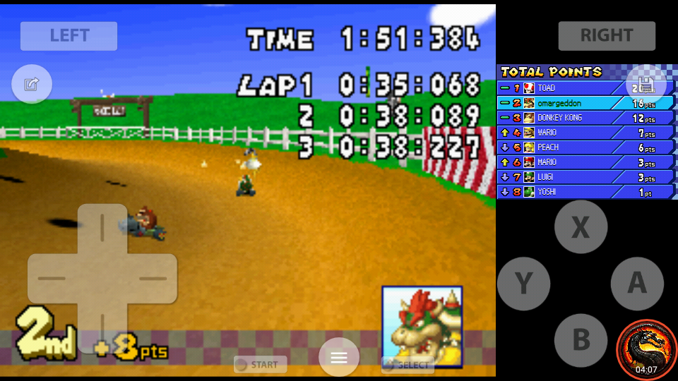 omargeddon: Mario Kart DS: N64 Moo Moo Farm [100cc] [Lap Time] (Nintendo DS Emulated) 0:00:35.068 points on 2020-09-29 22:18:21