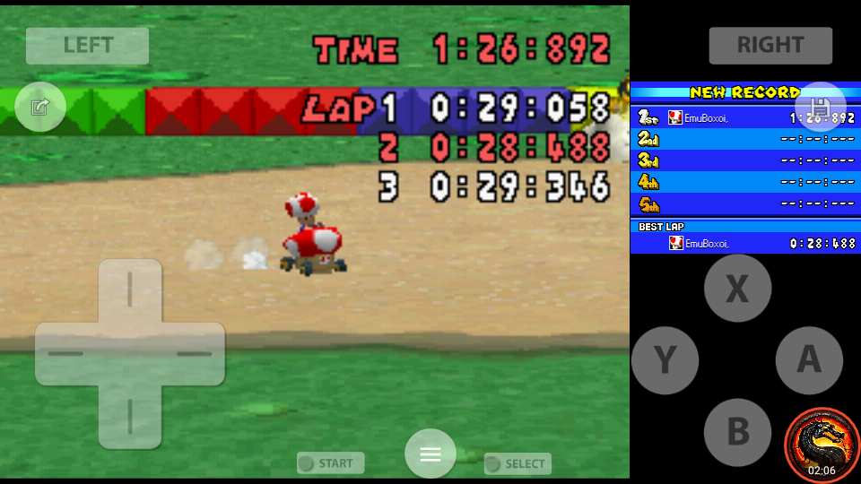 omargeddon: Mario Kart DS: SNES Donut Plains 1 [Time Trial] (Nintendo DS Emulated) 0:01:26.892 points on 2020-08-02 10:35:57