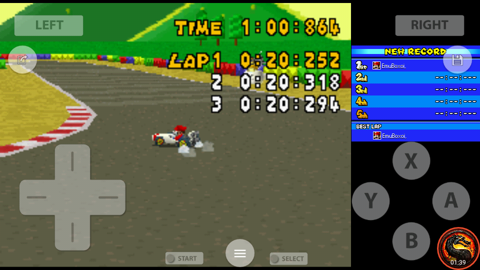 omargeddon: Mario Kart DS: SNES Mario Circuit 1 [Time Trial] (Nintendo DS Emulated) 0:01:00.864 points on 2020-08-02 10:23:43