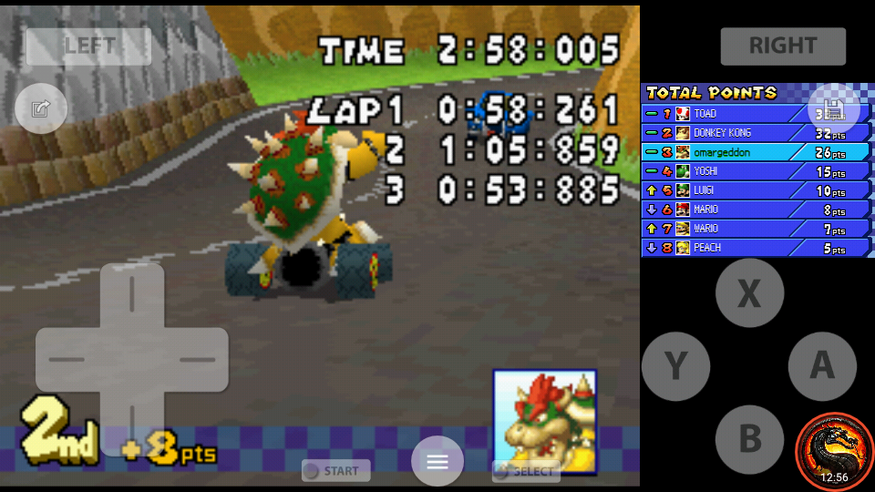 omargeddon: Mario Kart DS: Shroom Ridge [100cc] [Lap Time] (Nintendo DS Emulated) 0:00:53.885 points on 2020-09-29 22:11:52