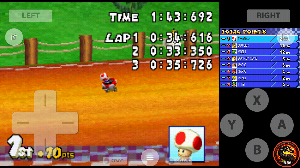 omargeddon: Mario Kart DS: Yoshi Falls [50cc] [Lap Time] (Nintendo DS Emulated) 0:00:33.35 points on 2020-07-30 19:03:29