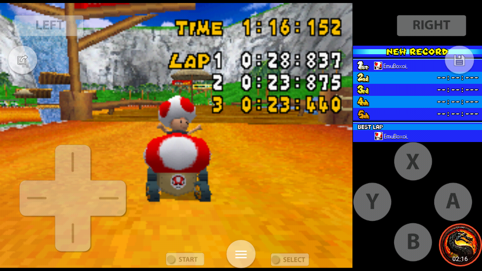 omargeddon: Mario Kart DS: Yoshi Falls [Time Trial] (Nintendo DS Emulated) 0:01:16.152 points on 2020-08-01 22:42:23