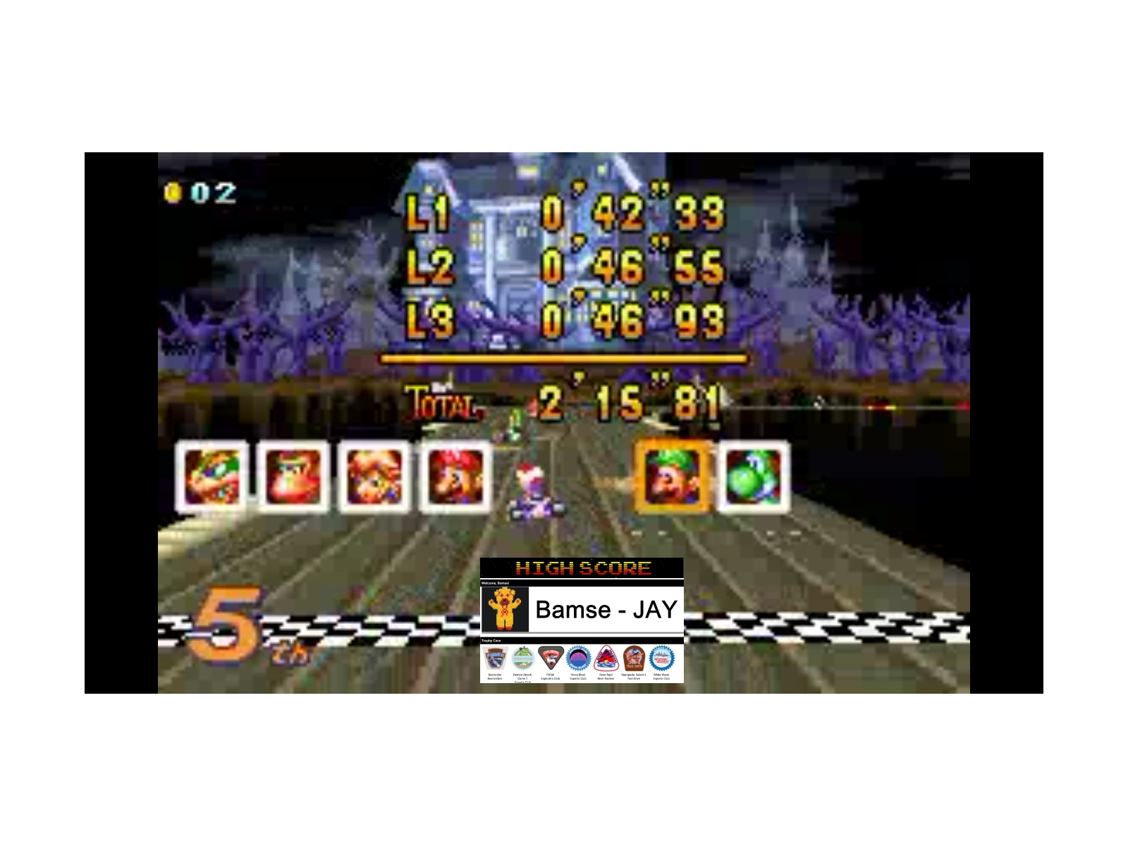 Bamse: Mario Kart Super Circuit: Boo Lake [100cc] (GBA Emulated) 0:02:15.81 points on 2019-12-17 11:58:43