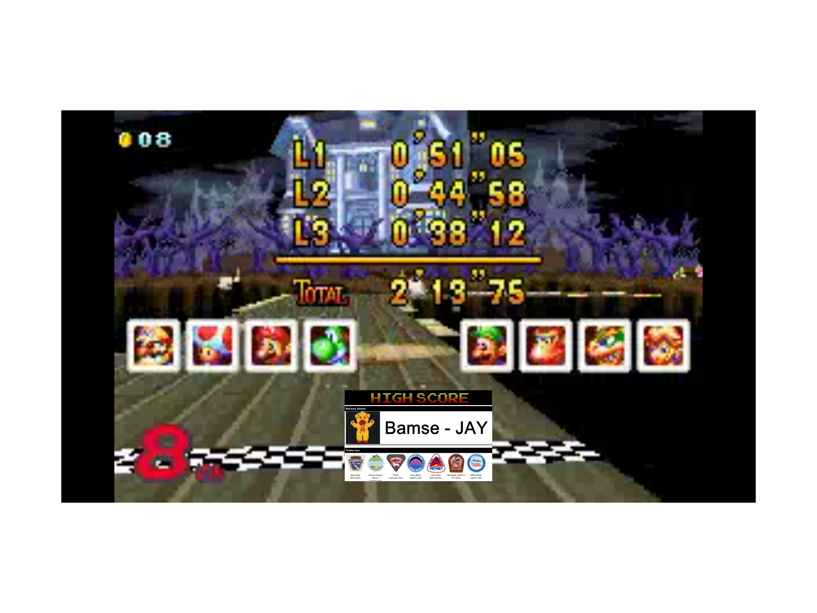 Bamse: Mario Kart Super Circuit: Boo Lake [150cc] (GBA Emulated) 0:02:13.75 points on 2019-12-17 12:02:32