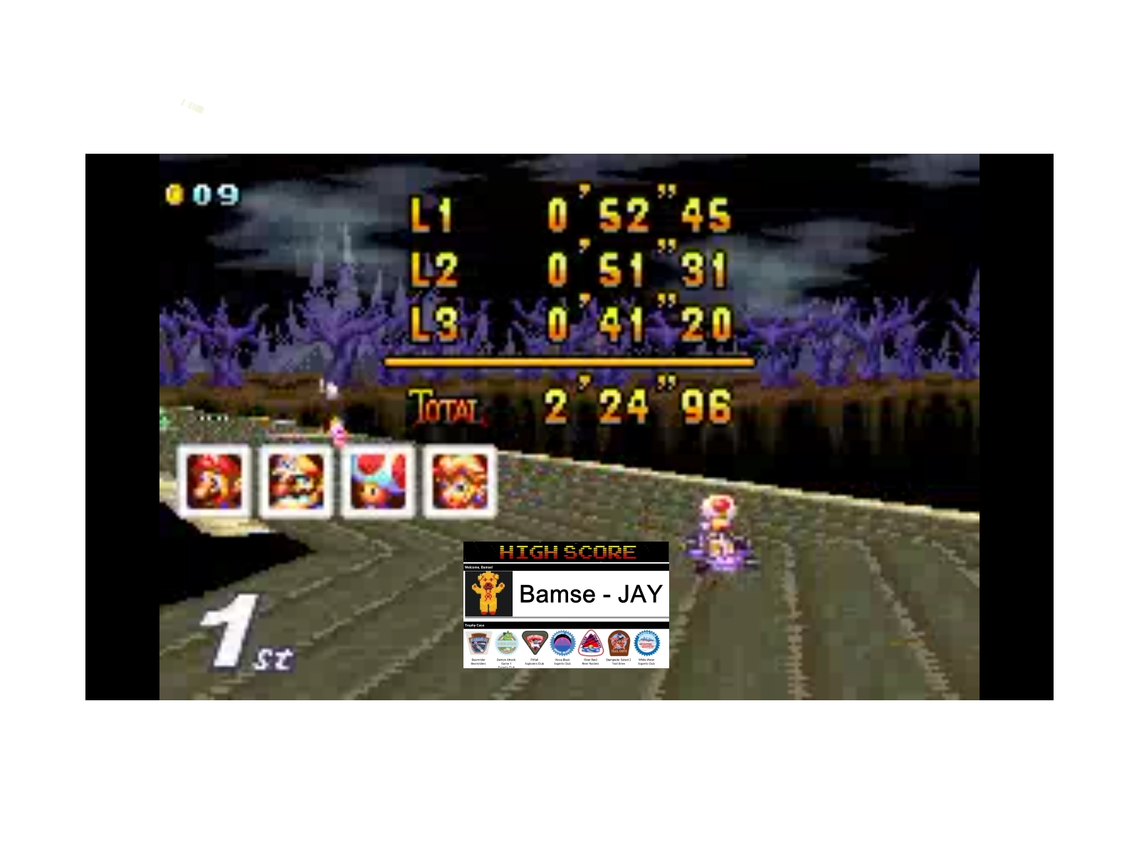 Bamse: Mario Kart Super Circuit: Boo Lake [50cc] (GBA Emulated) 0:02:24.96 points on 2019-12-17 11:52:43