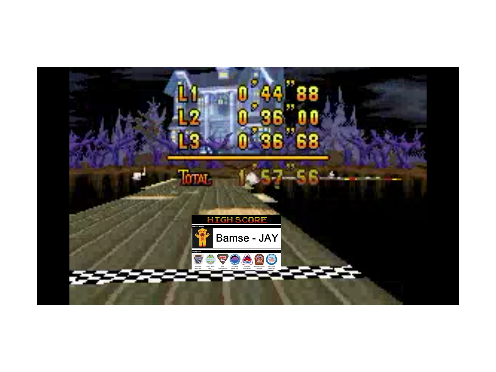 Bamse: Mario Kart Super Circuit: Boo Lake [Time Trial] (GBA Emulated) 0:01:57.56 points on 2019-12-17 12:06:11