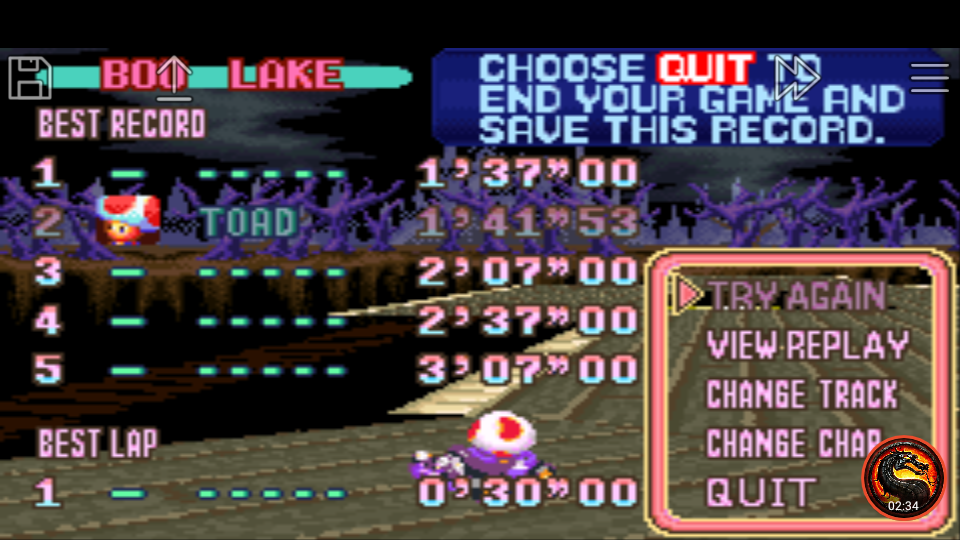 omargeddon: Mario Kart Super Circuit: Boo Lake [Time Trial] (GBA Emulated) 0:01:41.53 points on 2020-06-09 00:55:30