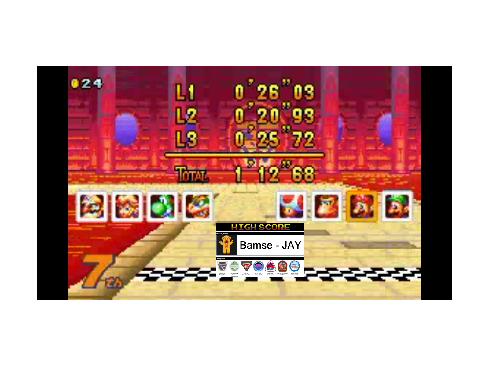 Bamse: Mario Kart Super Circuit: Bowser Castle 1 [150cc] (GBA Emulated) 0:01:12.68 points on 2019-12-17 12:26:45