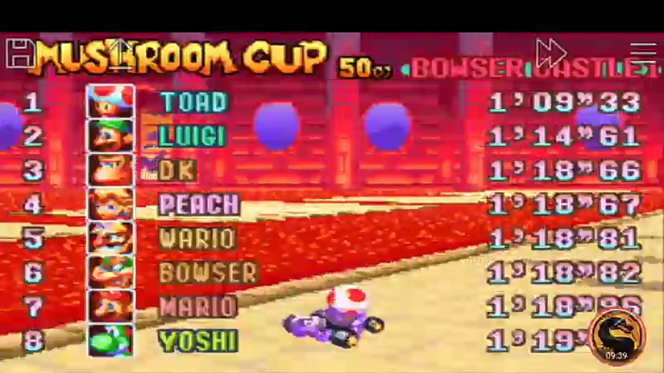 omargeddon: Mario Kart Super Circuit: Bowser Castle 1 [50cc] (GBA Emulated) 0:01:09.33 points on 2019-12-14 10:33:37