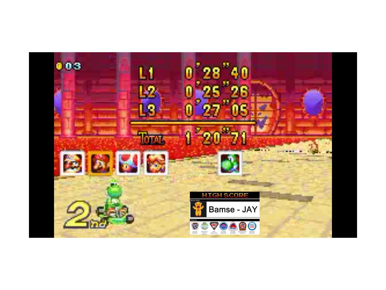 Bamse: Mario Kart Super Circuit: Bowser Castle 1 [50cc] (GBA Emulated) 0:01:20.71 points on 2019-12-17 12:18:58