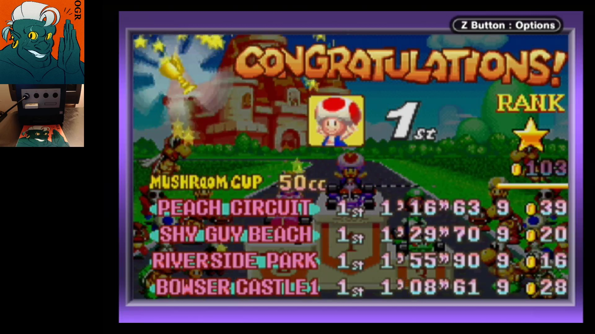 AwesomeOgre: Mario Kart Super Circuit: Bowser Castle 1 [50cc] (GBA) 0:01:08.61 points on 2020-05-27 04:21:52
