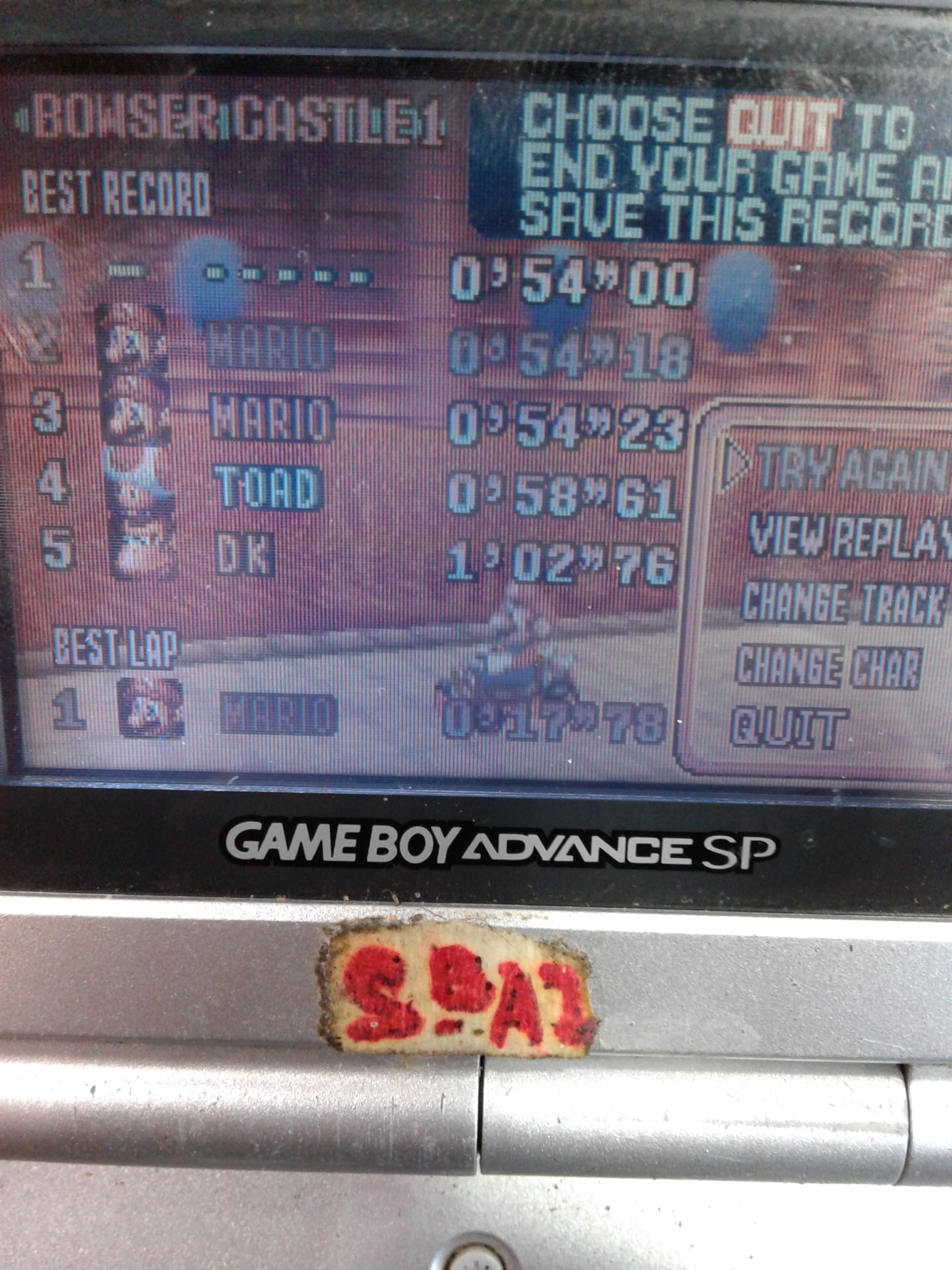 S.BAZ: Mario Kart Super Circuit: Bowser Castle 1 [Time Trial] [Lap Time] (GBA) 0:00:17.78 points on 2021-03-16 17:21:45