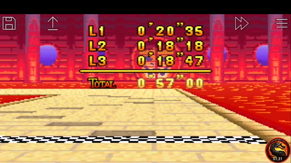 omargeddon: Mario Kart Super Circuit: Bowser Castle 1 [Time Trial] [Lap Time] (GBA Emulated) 0:00:18.18 points on 2020-06-08 13:51:44