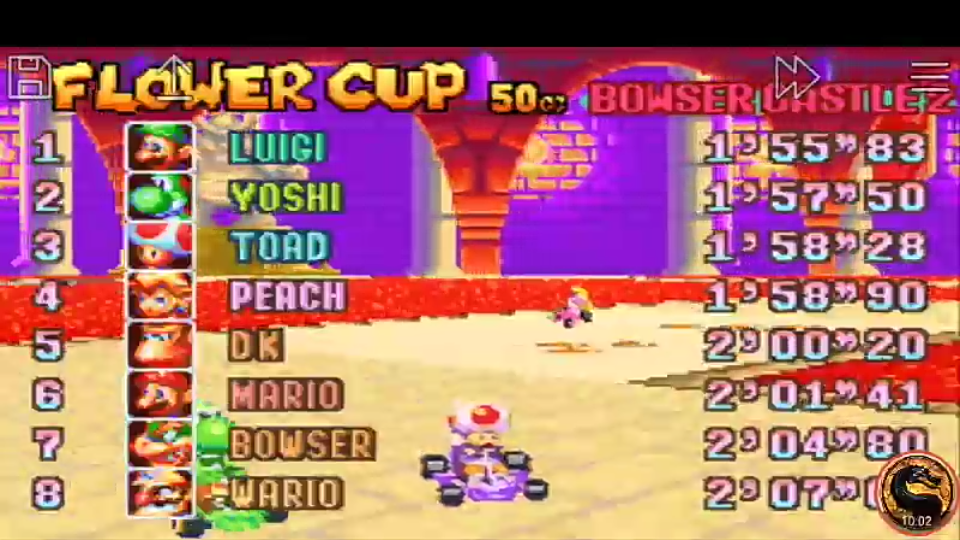 omargeddon: Mario Kart Super Circuit: Bowser Castle 2 [50cc] (GBA Emulated) 0:01:58.28 points on 2019-12-15 08:26:42