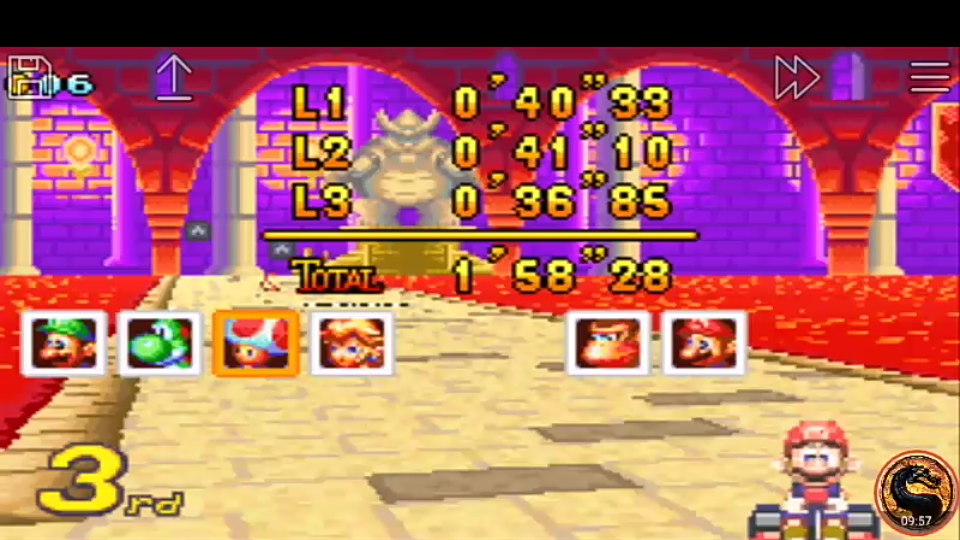 omargeddon: Mario Kart Super Circuit: Bowser Castle 2 [50cc] [Lap Time] (GBA Emulated) 0:00:36.85 points on 2019-12-15 08:27:37